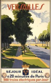 Vinatge French poster - Versailles. Ideal 20 minutes from Paris